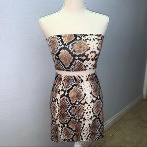 Tan Snake Print Bandeau Crop Top and Mini Skirt